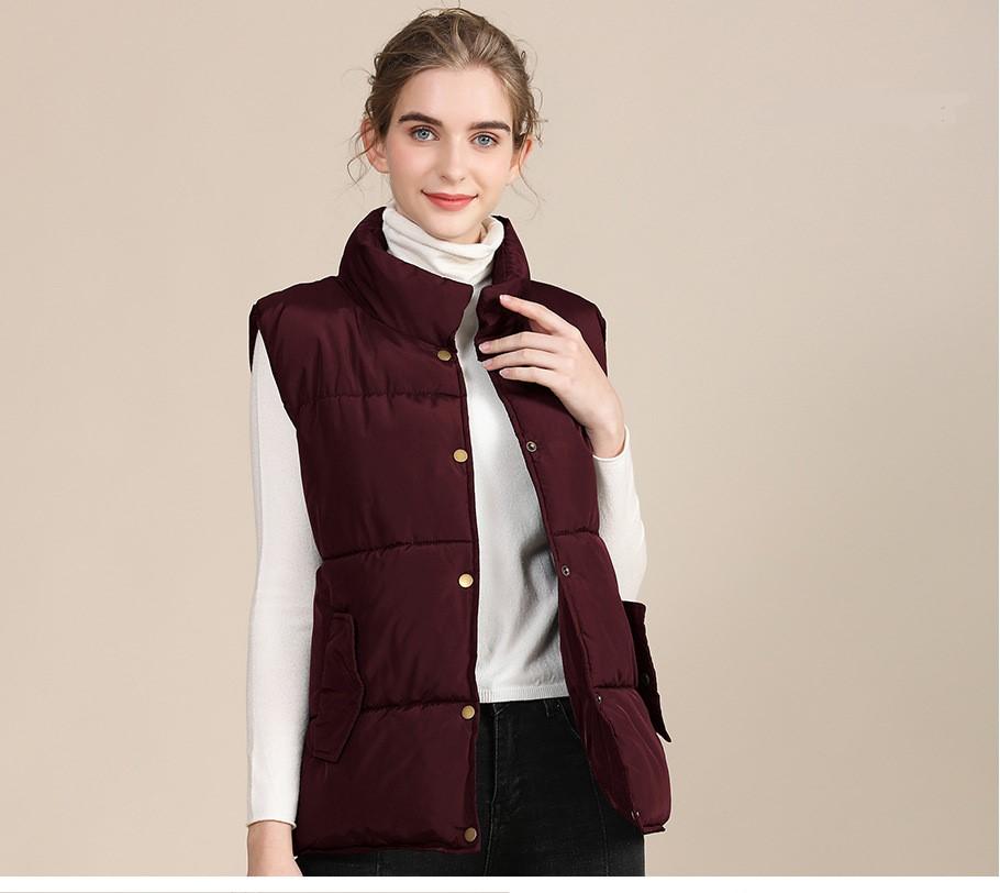 2020 new European and American plus size cotton vest female autumn collar sleeveless cotton vest female jacket 9