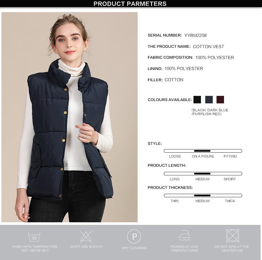 2020 new European and American plus size cotton vest female autumn collar sleeveless cotton vest female jacket 0
