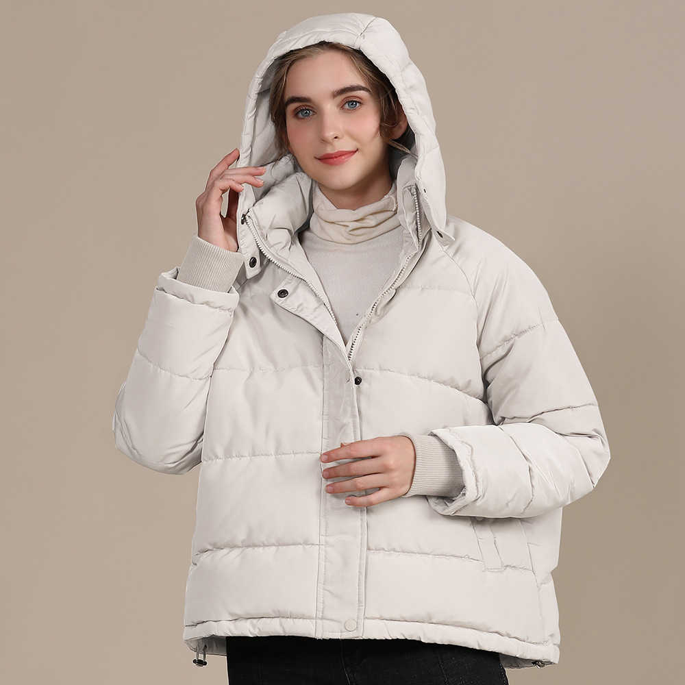 2020 new autumn and winter European and American plus size loose cotton-padded jacket female short solid color women's cotton coat women's  23