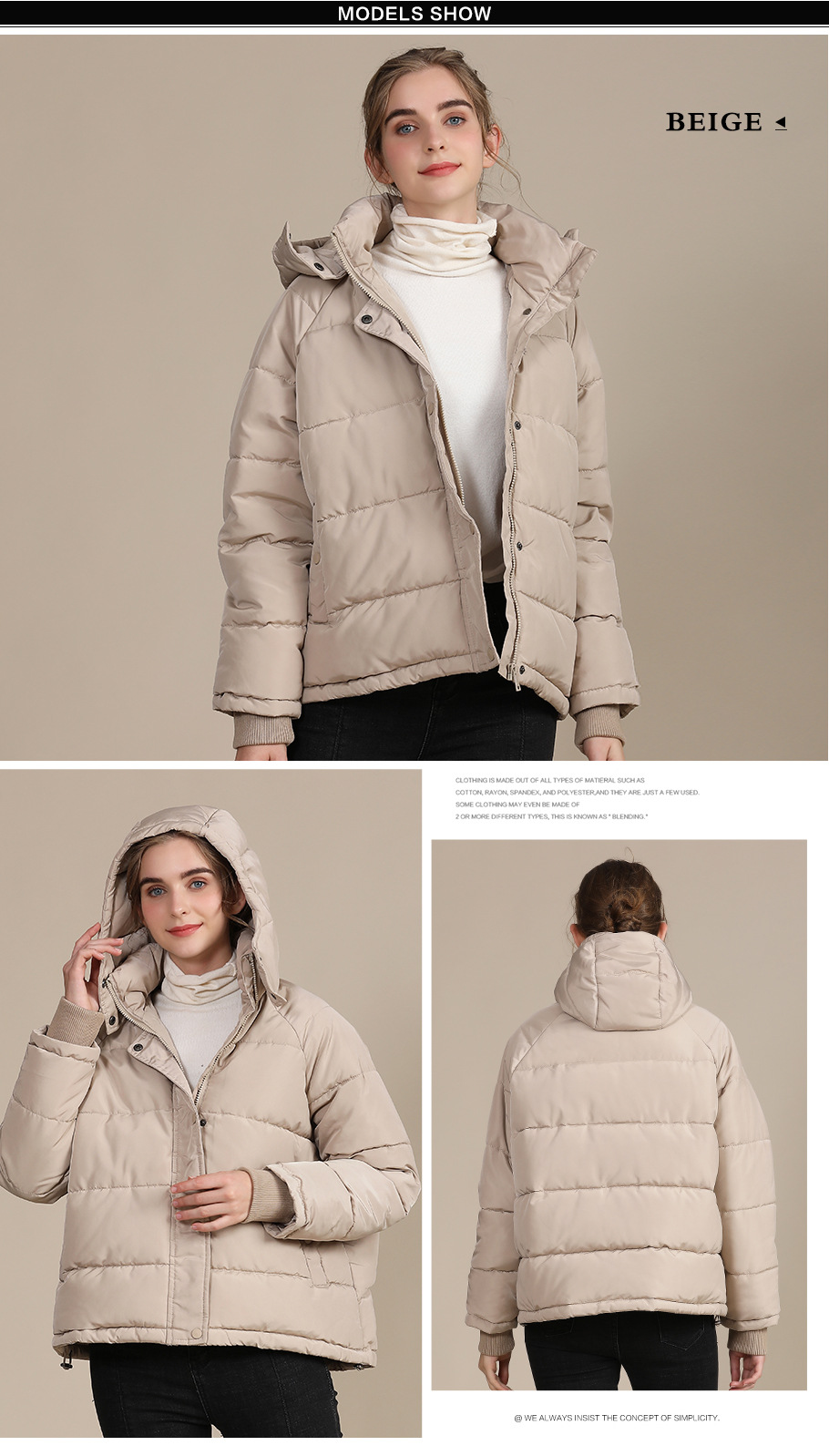 2020 new autumn and winter European and American plus size loose cotton-padded jacket female short solid color women's cotton coat women's  4