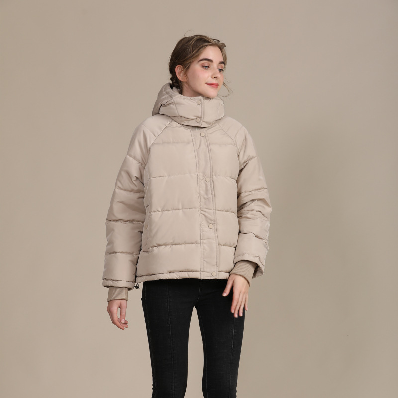 2020 new autumn and winter European and American plus size loose cotton-padded jacket female short solid color women's cotton coat women's  8