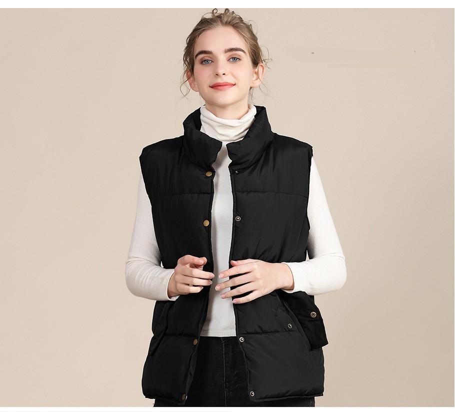2020 new European and American plus size cotton vest female autumn collar sleeveless cotton vest female jacket 7