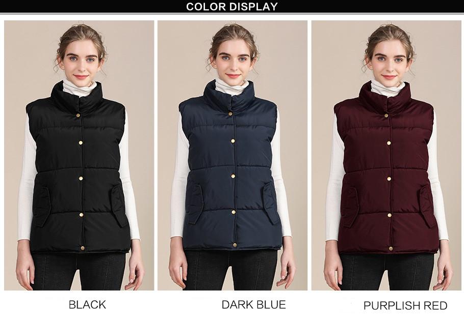 2020 new European and American plus size cotton vest female autumn collar sleeveless cotton vest female jacket 4