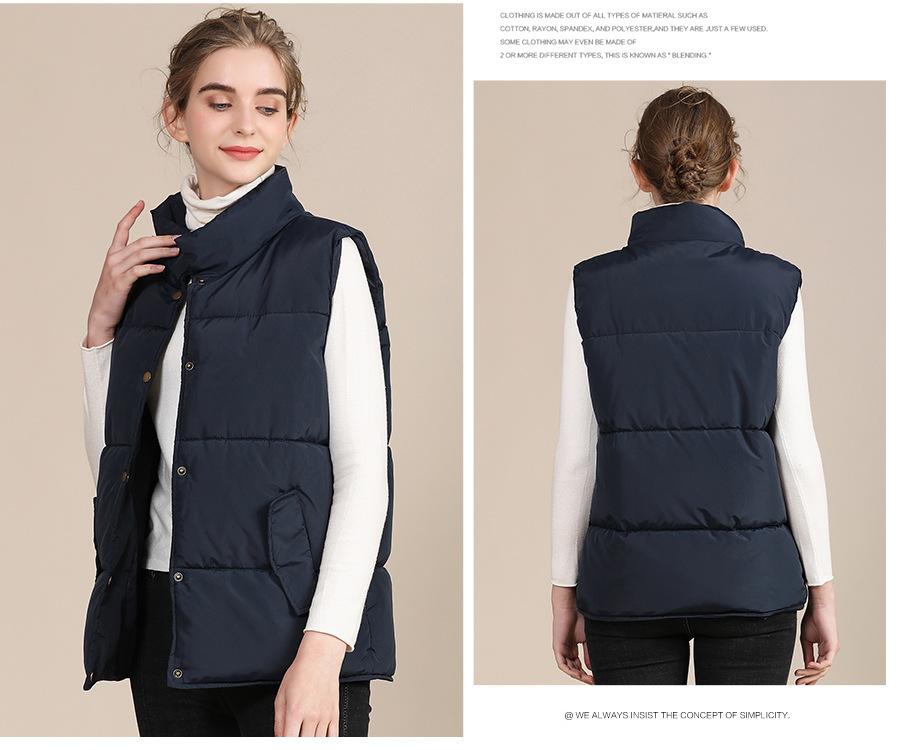 2020 new European and American plus size cotton vest female autumn collar sleeveless cotton vest female jacket 6