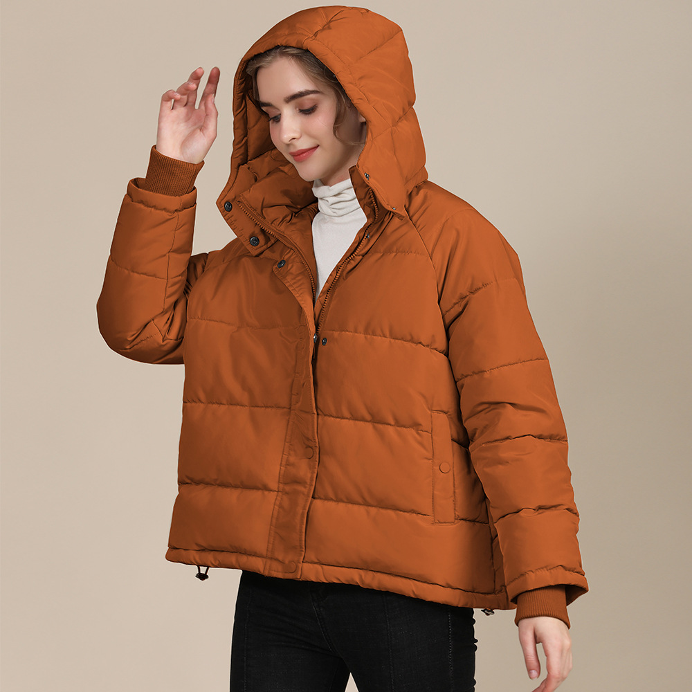 2020 new autumn and winter European and American plus size loose cotton-padded jacket female short solid color women's cotton coat women's  15