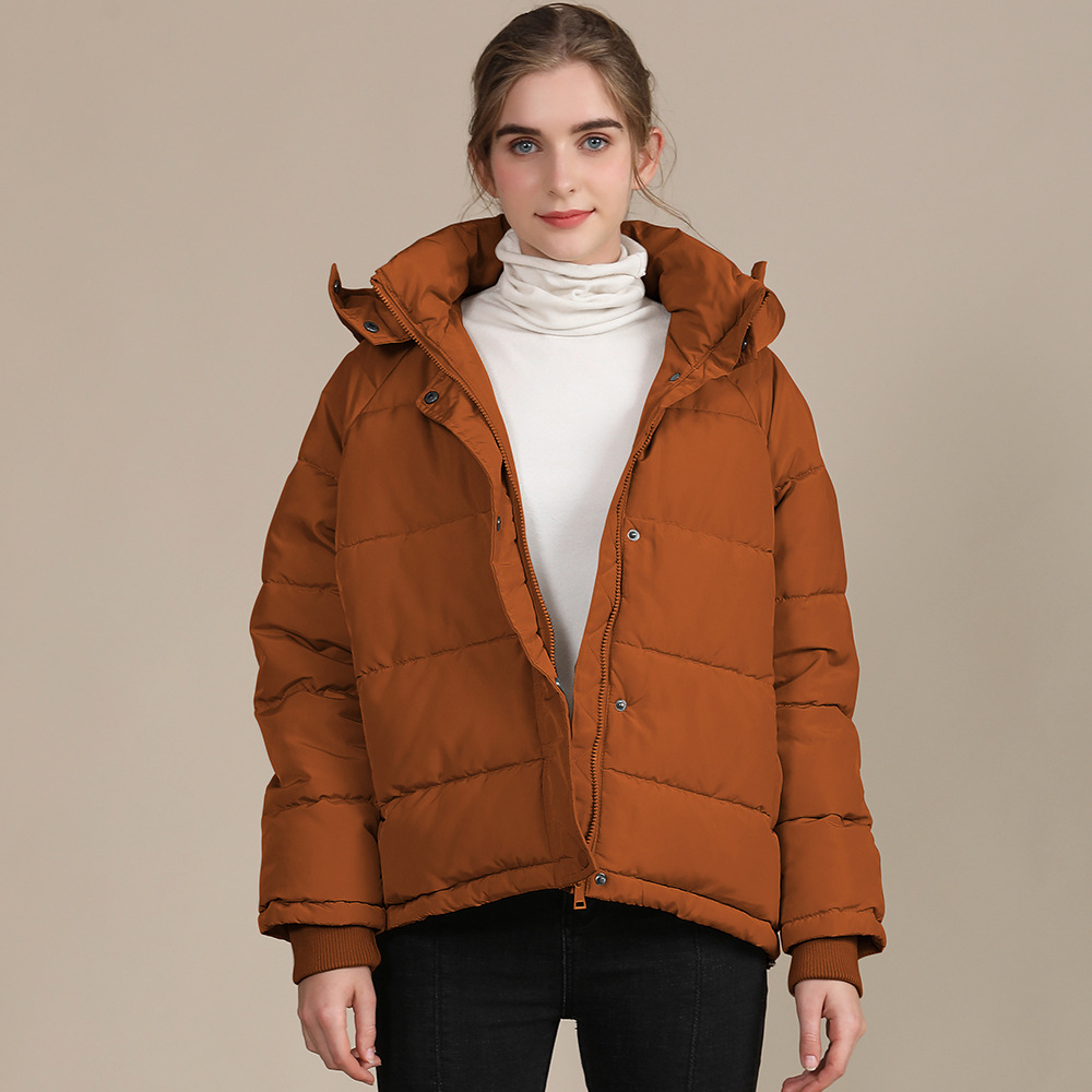 2020 new autumn and winter European and American plus size loose cotton-padded jacket female short solid color women's cotton coat women's  16