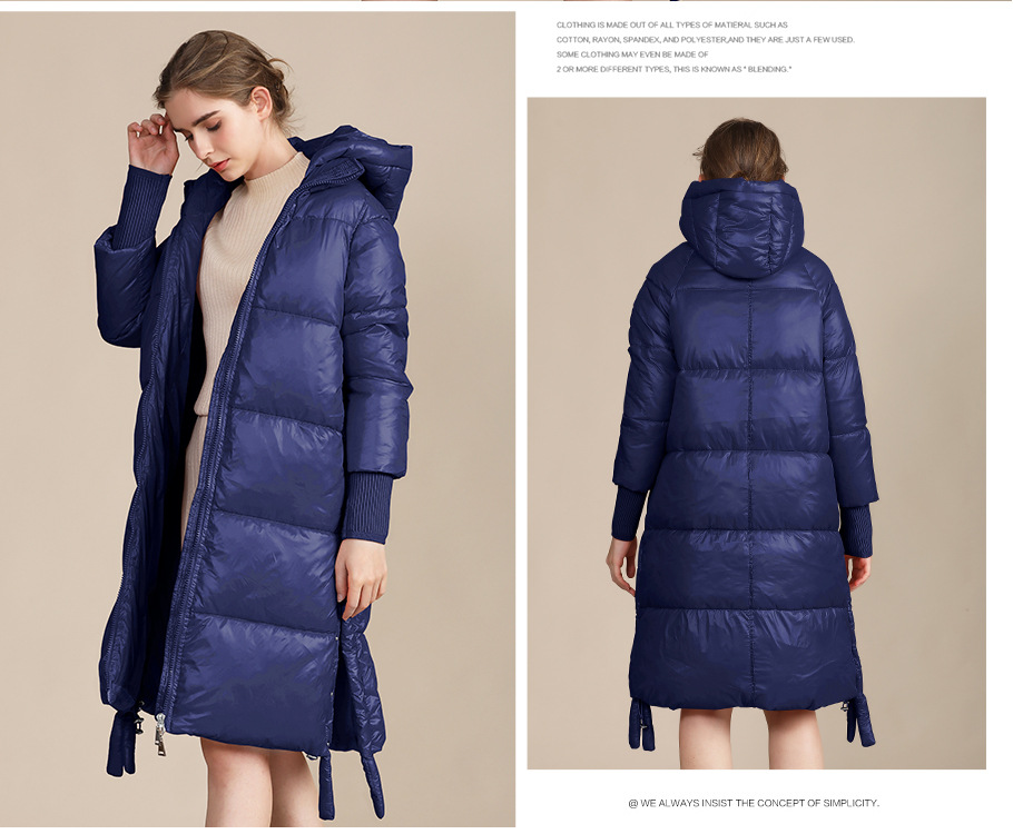 2020 winter long cotton-padded jacket women's bright loose warm ladies cotton coat 14