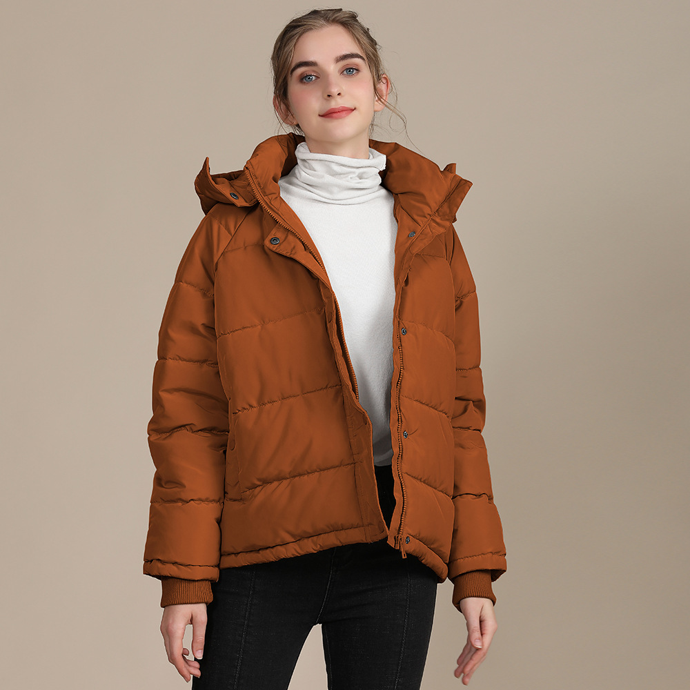 2020 new autumn and winter European and American plus size loose cotton-padded jacket female short solid color women's cotton coat women's  17