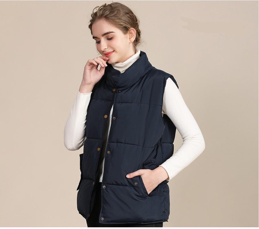 2020 new European and American plus size cotton vest female autumn collar sleeveless cotton vest female jacket 5