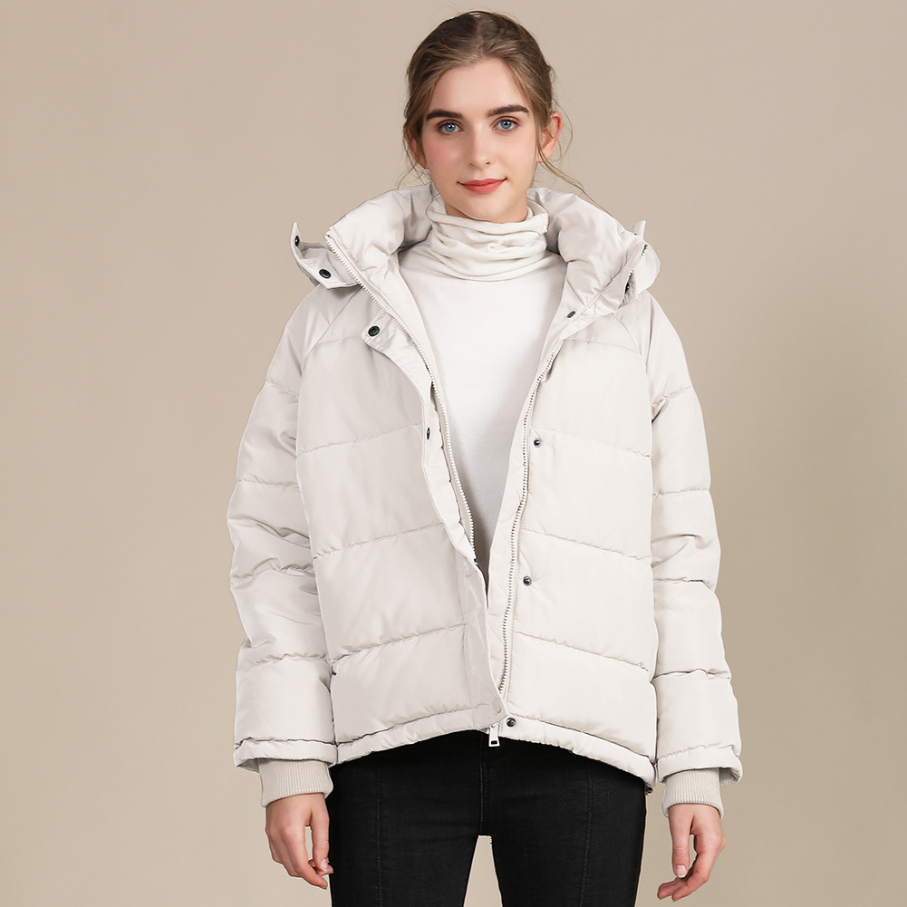 2020 new autumn and winter European and American plus size loose cotton-padded jacket female short solid color women's cotton coat women's  22