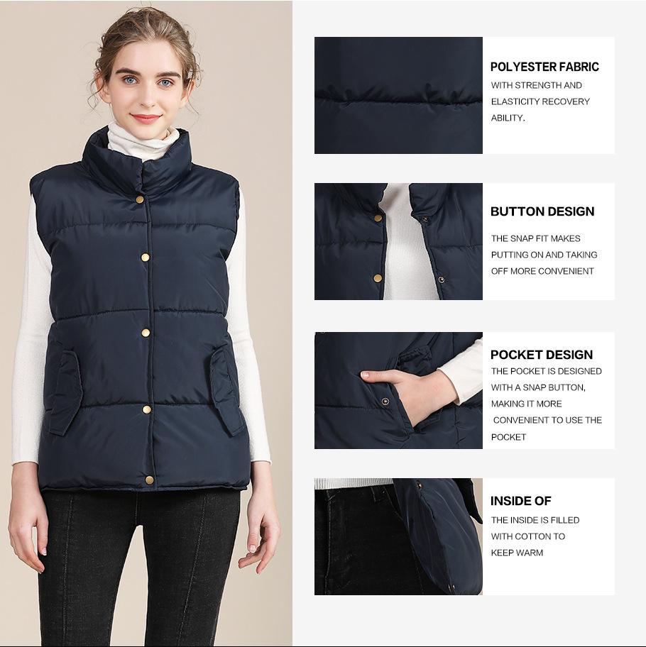 2020 new European and American plus size cotton vest female autumn collar sleeveless cotton vest female jacket 1