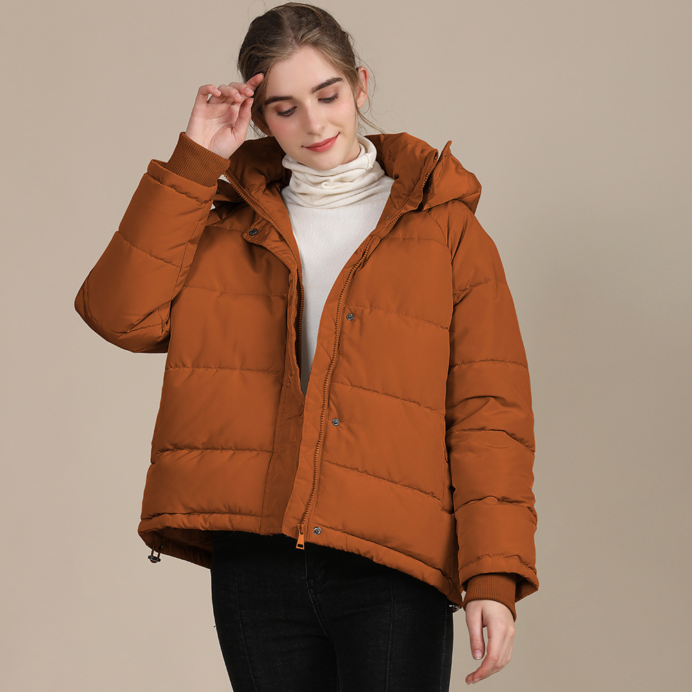 2020 new autumn and winter European and American plus size loose cotton-padded jacket female short solid color women's cotton coat women's  18