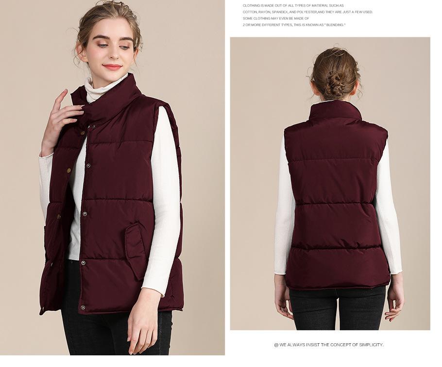 2020 new European and American plus size cotton vest female autumn collar sleeveless cotton vest female jacket 10