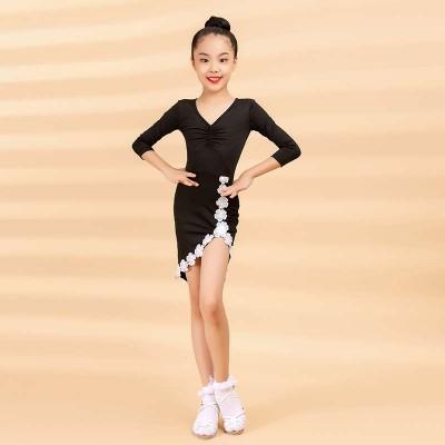 2020 Women's Children's Latin Dance Dress Autumn/Winter Fashion New Products Cuff Lace Cross Swing Practice Skirt