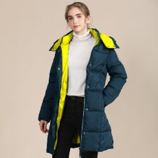 2020 cotton-padded women's European and American new color matching long ladies cotton-padded jacket hooded slim collar coat thickened