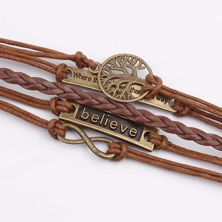 European and American bronze tree of life where infinite believe retro leather cord bracelet 1