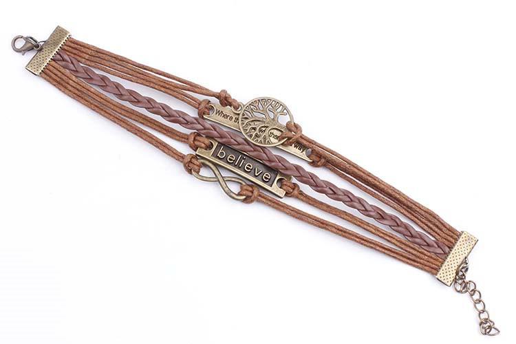European and American bronze tree of life where infinite believe retro leather cord bracelet 2