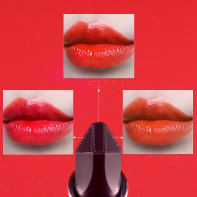 Three-color lipstick, a two-sided net red, the same style, moisturizing and moisturizing, not easy to fade