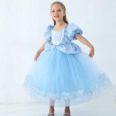 Cinderella princess dress dress girls four seasons dress dress cute blue pettiskirt children's birthday gift