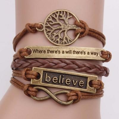European and American bronze tree of life where infinite believe retro leather cord bracelet