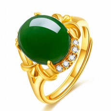 Living mouth adjustable innovation ring National style gold plated gold inlaid Hetian jasper ring Gold inlaid jade and green chalcedony ring
