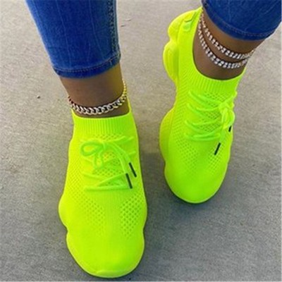 Spot large size thick-soled breathable running shoes sports shoes non-slip wear-resistant women's solid color single shoes
