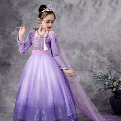 New Elsa Princess Dress  Elsa Dress Girls Purple Long Sleeve Dress Cute Children's Birthday Gift