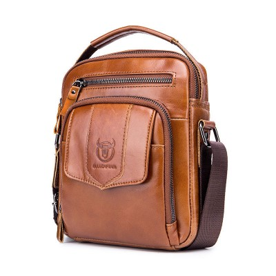 Leather shoulder bag men's head layer cowhide casual retro small hijab compartment large capacity medium and small bag