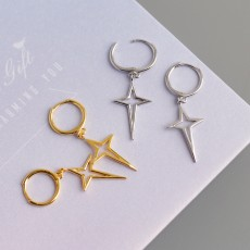 925 Sterling Silver North Star Earrings Gold or Silver