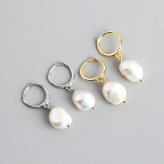 925 Sterling Silver Fresh Water Pearl Stud Earrings Hoop