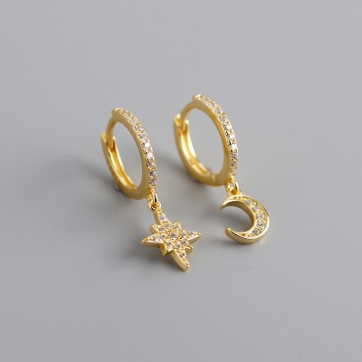 Gold Plated 925 Sterling Silver Moon Star Hoop Earrings with Zirconia