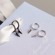 925 Sterling Silver Spike Hoop Earrings Black or Silver