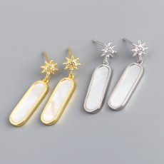 925 Sterling Silver Seashell Stone North Star Dangle Earrings Studs with Zirconia