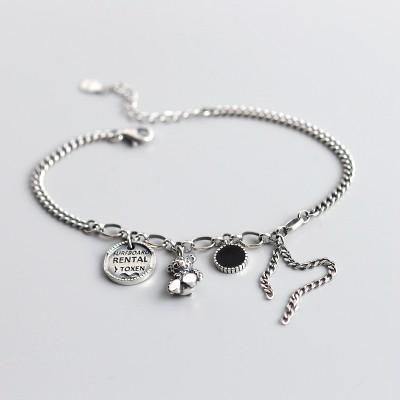 Antique 925 Sterling Silver Rental Toxen Teddy Bear Charm Bracelet