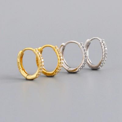 Gold Plated 925 Sterling Silver Cubic Zirconia Hoop Earrings