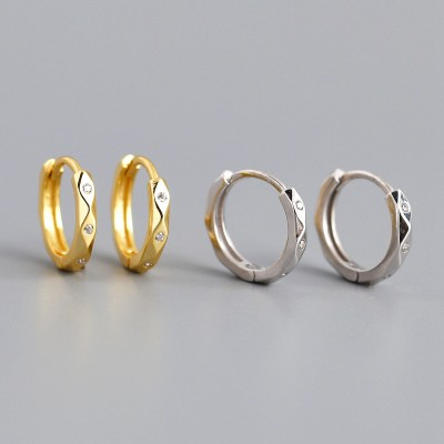 Cubic Zirconia Pave 925 Sterling Silver Hoop Earrings Studs Gold or Silver