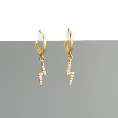 Gold Plated 925 Sterling Silver Lightning Earrings with Cubic Zirconia