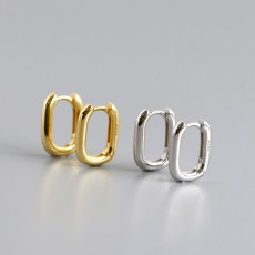 Gold Plated 925 Sterling Silver Oval Huggie Earrings Hoop