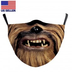 Chewbacca Face Mask Star Wars 3D Printed Fabric Masks Washable Reusable