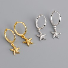 Gold Plated 925 Sterling Silver Starfish Hoop Earrings Dangle Earring