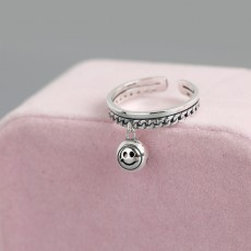 925 Sterling Silver Happy Face Smiley Ring Adjustable