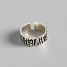 925 Sterling Silver Graffiti Carved Ring Adjustable