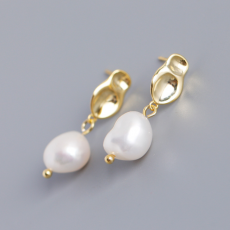925 Sterling Silver Baroque Irregular Shaped Freshwater Pearl Earrings