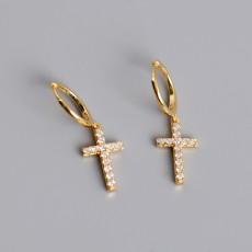 925 Sterling Silver Cross Dangle Earrings with Zirconia