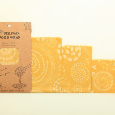 3 pack reusable sustainable nature beeswax food wraps
