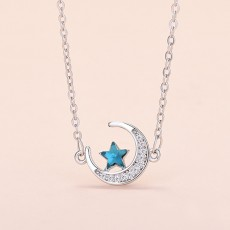 Star and moon necklace female simple inlaid zircon pendant clavicle chain ins trend fashion net red jewelry