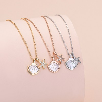 Silversmith Necklace Female Shell Clavicle Chain Fashion Trend Zircon Starfish Pendant One Shell Jewelry