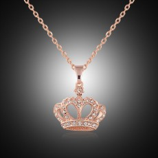 European and American jewelry fashion diamond necklace, distinguished personality crown golden pendant
