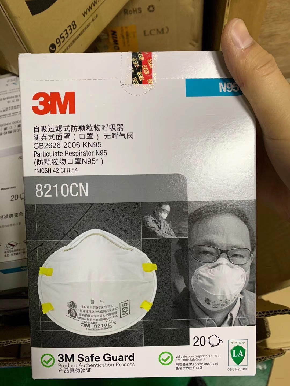 KN95 3M 8210CN Disposable KN95 Face Mask Flu Particulate Respirator Filter Dustproof Safe Guard 20pcs 2