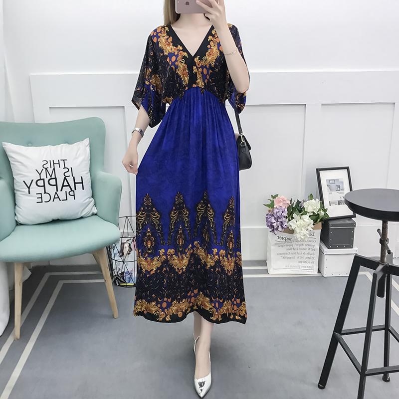 Fancy Bohemian Style Floral Print Maxi Skirt, Lady maxi skirt slim waist dress beach skirtWith Mixed Cotton 3